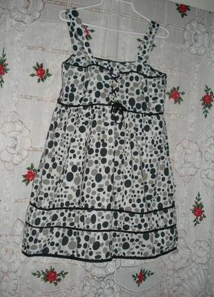 Туника -на белом фоне серые и черные шары,р.16,100%коттон,индия.