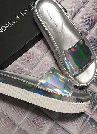 Kendall + kylie оригинал серебристые кожаные шлепки шлепанцы бренд из сша1