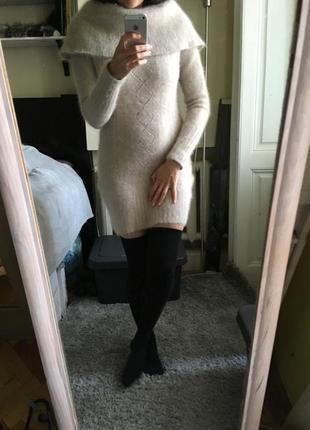Ангоровое пушистое платье италия 8-10-12 шерстяное платье
