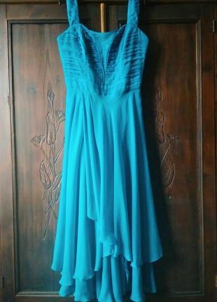 Вечернее бирюзовое длинное платье