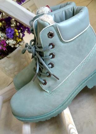 Ботинки мятные, зима