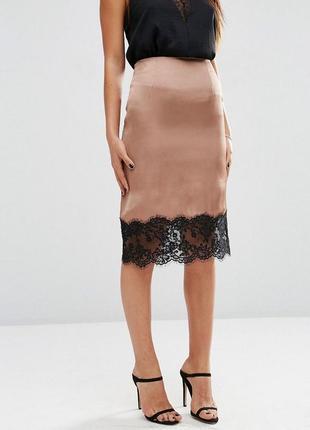 Ліквідація товару до 29 грудня 2018 !!! юбка с кружевной отделкой asos boudoir
