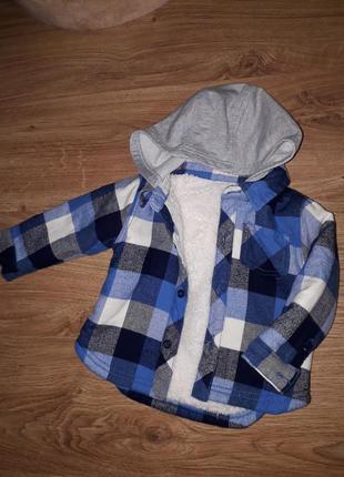 Курточка рубашка на меху  на маленького модника 9-12 мес nutmeg
