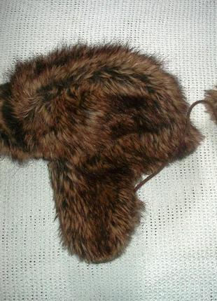 Меховая шапка -ушанка под енота германия