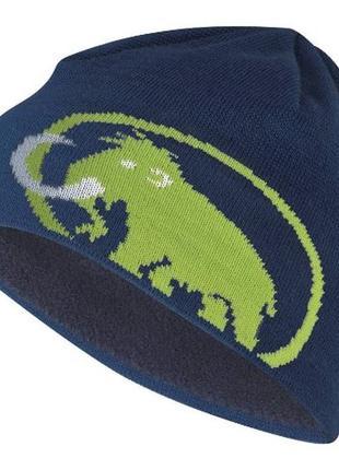 Шерстяная тёплая шапка спортивная лыжная шапочка на флисе принт