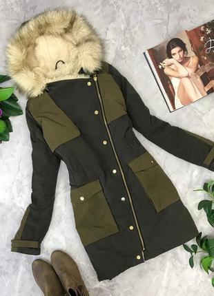 Стильное пальто-букле с меховым капюшоном  ov1845009 river island