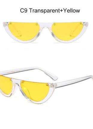 Полуободковые прозрачные солнцезащитные очки-половинки с желтой дымчатой линзой