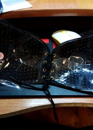 Бюстгальтер невидимка на шнуровке fly bra ( лиф невидимый ) черный размер d3 фото