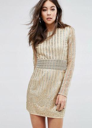 Prettylittlething золота декорована сукня на новий рік