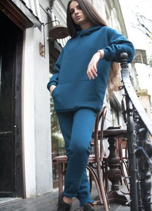 Женский костюм c худи цвета морской волны на флисе
