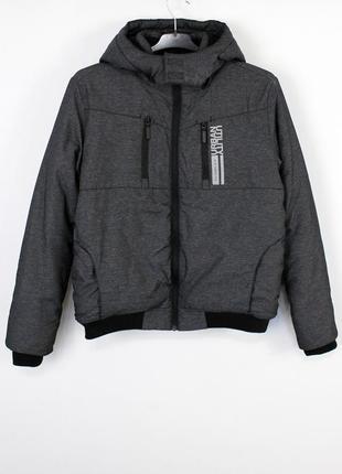 Утепленная короткая серая куртка с капюшоном демисезон - евро зима s.oliver