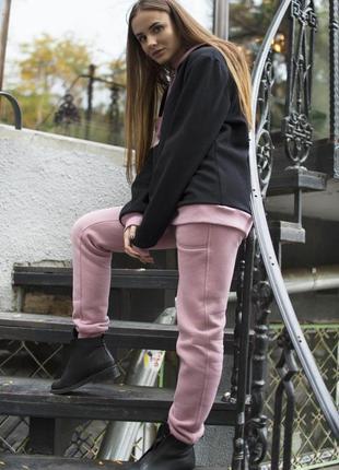 Костюм с худи черно-розовый женский