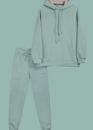 Женский костюм c худи мятно-фисташкового цвета на флисе