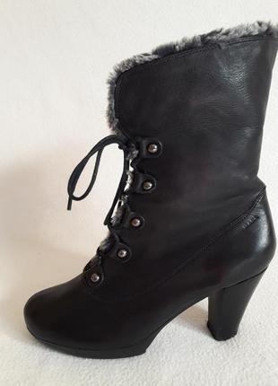 Кожаные зимние полусапожки, ботинки фирмы marc soft walk p. 39 стелька 25,5 см1