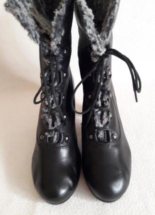 Кожаные зимние полусапожки, ботинки фирмы marc soft walk p. 39 стелька 25,5 см3