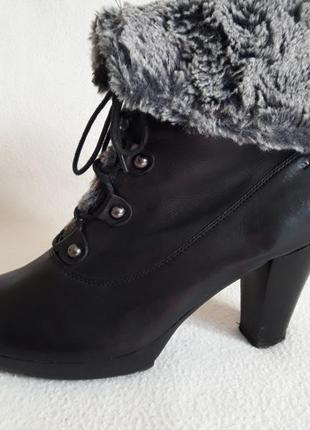 Кожаные зимние полусапожки, ботинки фирмы marc soft walk p. 39 стелька 25,5 см5
