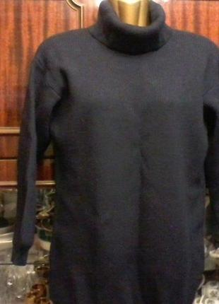 Шерстяной свитер оверсайз с горловиной, синего цвета, разм. 46