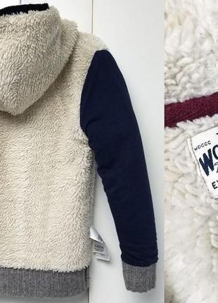Меховая зимняя пайта, худи, меховушка, утепленная кофта с капюшоном m&s3
