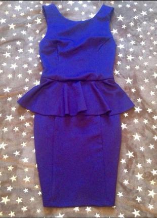 Платье миди футляр с баской