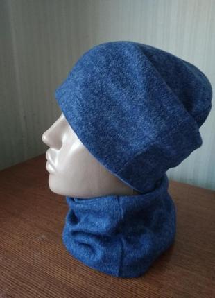 Новый трикотажный комплект ярко синего цвета шапка + снуд