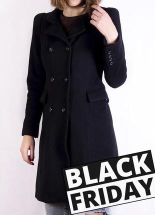 Двубортное черное пальто zara