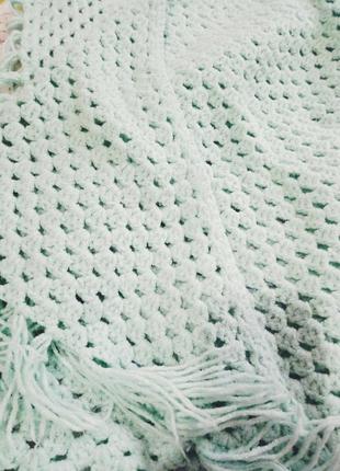 Шаль-платок,накидка, шарф,  теплая накидка вязаная , мятный