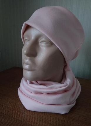 Новый нежно розовый пудровый комплект шапка+ снуд, разные размеры и цвета.
