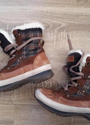 Зимние кожаные сапоги ботинки сноубутсы geox p.38