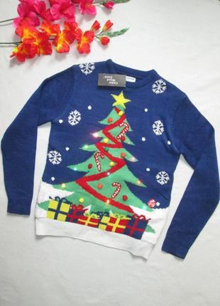 Светящийся с мигающей гирляндой новогодний свитер с ёлкой primark