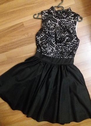 Черное  платье,лиф кружево,юбка пачка
