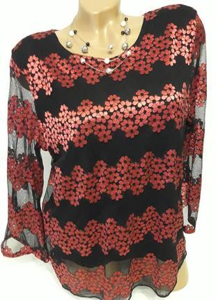 Блуза-сетка с нежными цветочками