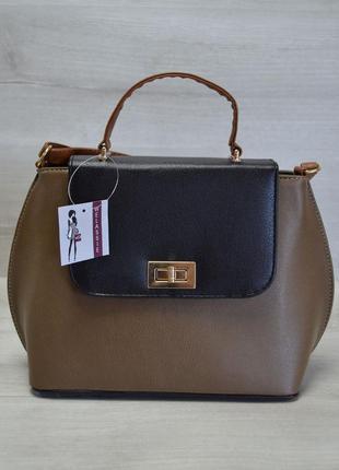 Акция!!  молодежная женская сумка-клатч кофейный гладкий