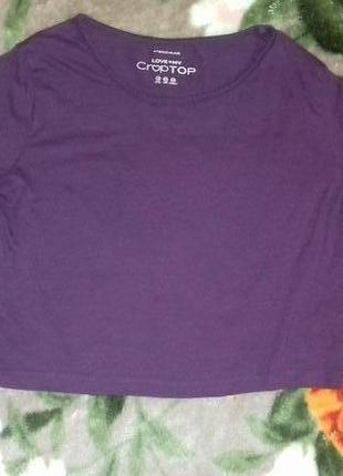 Кроп-топ crop top с длинным рукавом, пурпурный.