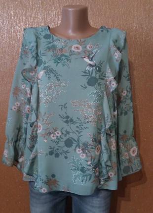 Блузка с воланами размер 10-12 clockhouse
