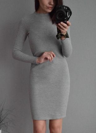 Серое фактурное платье primark