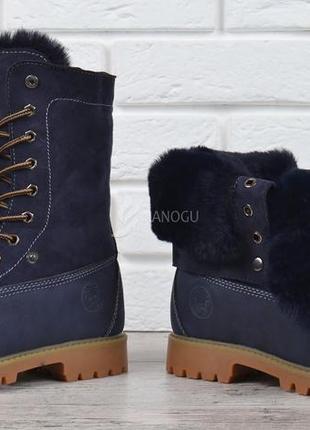 Ботинки натуральная опушка waterproof женские зимние на шнуровке синие сапоги