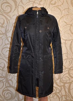 Теплый женский черный плащ - пальто италия