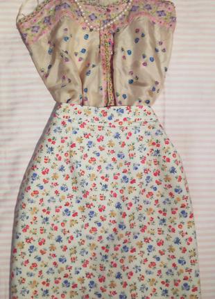 Натуральная юбка. блуза шелк