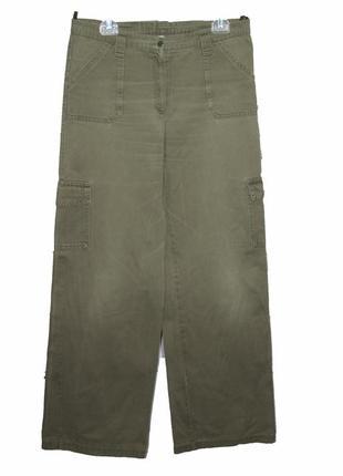 Модные и стильные широкие джинсы-карго цвета хаки scorpio
