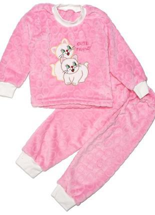Пижама для девочки, махровая. котики.