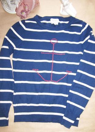 Хлопковый полосатый свитер тельняшка в морском стиле next