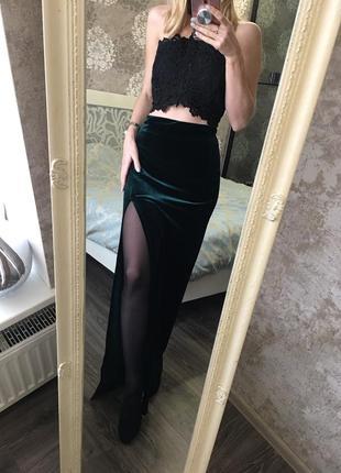 Бархатная , изумрудная юбка
