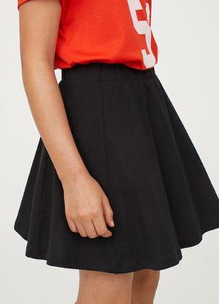 Трикотажная черная юбка солнце клёш от h&m