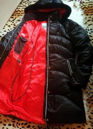 Зимний длинный пуховик куртка 72% пух и перо nike (оригинал) на суровую зиму с мехом
