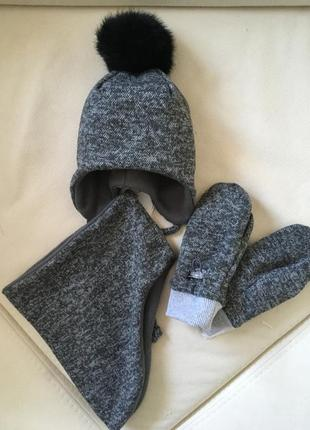 Акція шапка хомут рукавиці , комплект 1-2роки