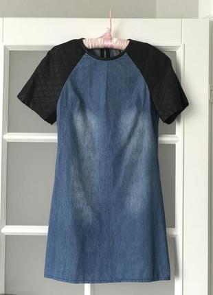 Стильное платье denim&co с рукавами из эко кожи