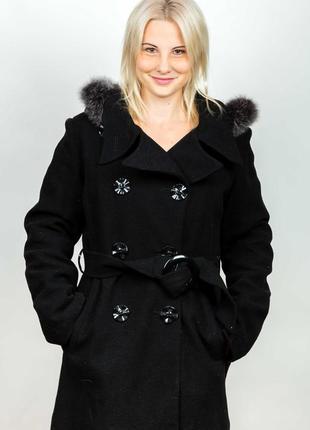 Шерстяное черное пальто багира