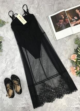 Трендовый комплект с боди и гипюрового платья  bo1847139  h&m
