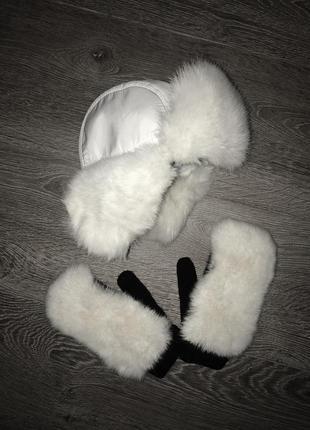 Зимняя шапка с рукавичками. мех натуральный.