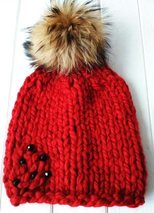 Зимняя вязаная шапочка,